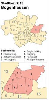 Der Münchener Stadtbezirk Bogenhausen mit dem Unterbezirk Daglfing