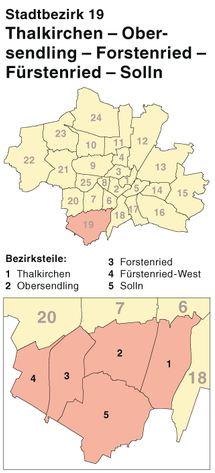 Der Münchener Stadtbezirk 19 und Stadtteil Forstenried