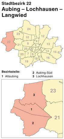 Der Münchener Stadtbezirk Aubing-Lochhausen-Langwied
