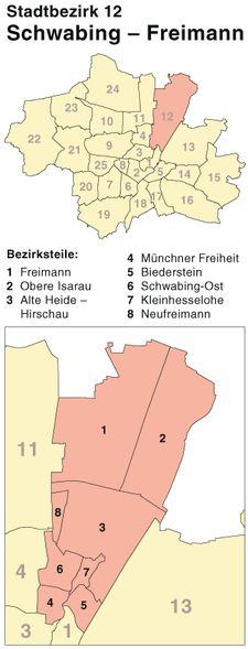 Der Münchener Stadtbezirk Schwabing-Freimann und der Stadtteil Freimann