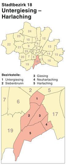 Der Münchener Stadtbezirk Untergiesing-Harlaching