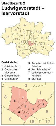 Der Münchener Stadtbezirk Ludwigsvorstadt-Isarvorstadt