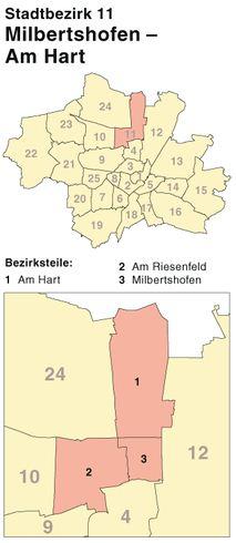 Der Münchener Stadtbezirk Milbertshofen-Am Hart