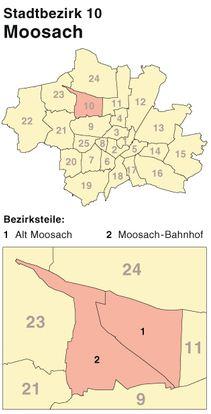 Der Münchener Stadtbezirk Moosach