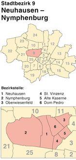 Der Münchener Stadtbezirk Neuhausen-Nymphenburg