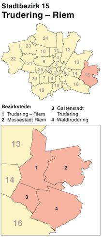 Der Münchener Stadtbezirk Trudering-Riem