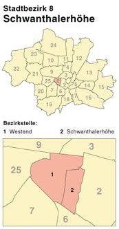 Der Münchener Stadtbezirk Schwanthalerhöhe